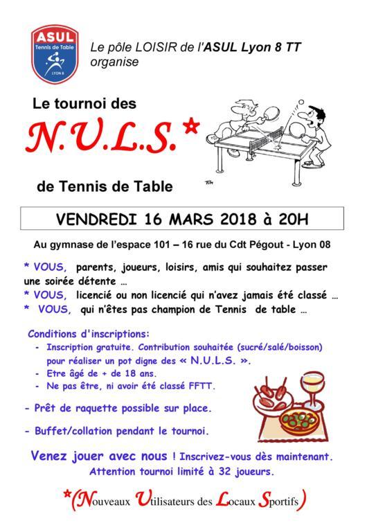Tournoi des nuls edition 2018 asul lyon 8 tennis de for Tennis de table lyon 6